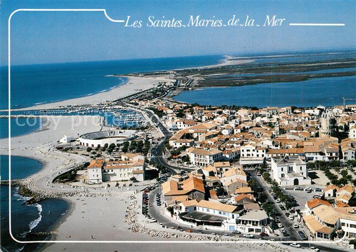 AK / Ansichtskarte Les_Saintes Maries de la Mer Vue generale aerienne des plages Les
