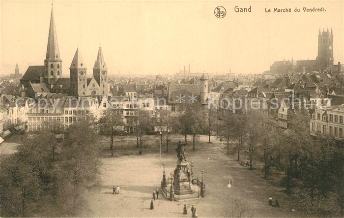 AK / Ansichtskarte Gand_Belgien Marche du Vendredi Monument Gand Belgien