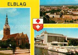 AK / Ansichtskarte Elblag Kirche Fliegeraufnahme Anlegestelle Elblag