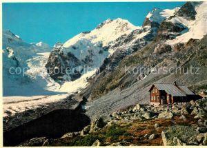 AK / Ansichtskarte Bovalhuette mit Biancograt Piz Bernina und Crast Aguezza Bovalhuette