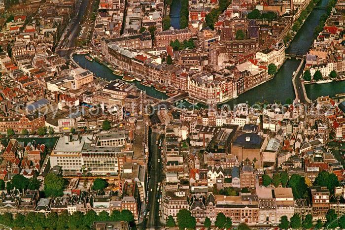 AK / Ansichtskarte Amsterdam_Niederlande Centrum Fliegeraufnahme Amsterdam_Niederlande