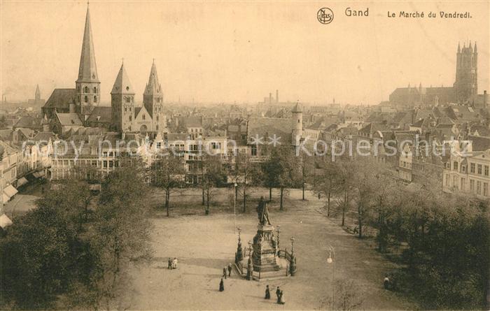 AK / Ansichtskarte Gand_Belgien Le Marche du Vendredi Monument Serie 3 No 3 Gand Belgien