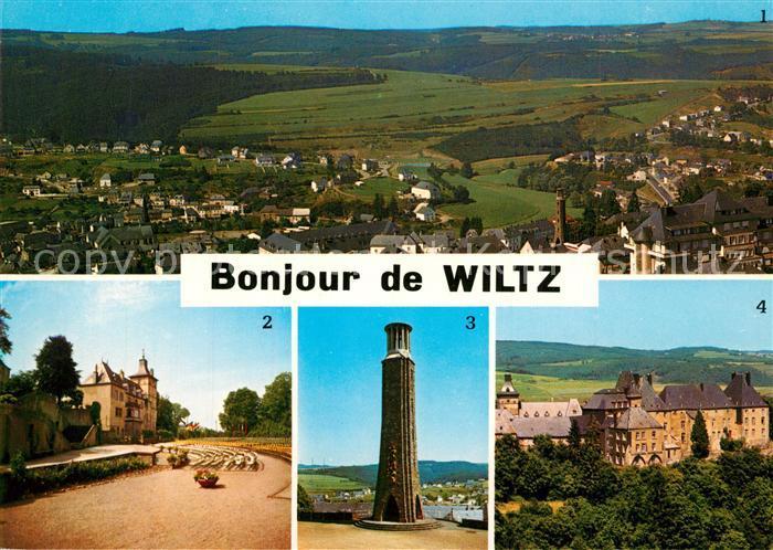AK / Ansichtskarte Wiltz_Luxembourg Vue generale Theatre en plein air Monument National de la Resistance Chateau Wiltz Luxembourg