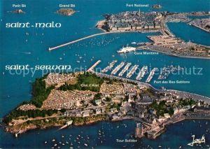 AK / Ansichtskarte Saint Servan_Ille et Vilaine La cite d'Alet le port en eau profonde et St Malo Vue aerienne Saint Servan