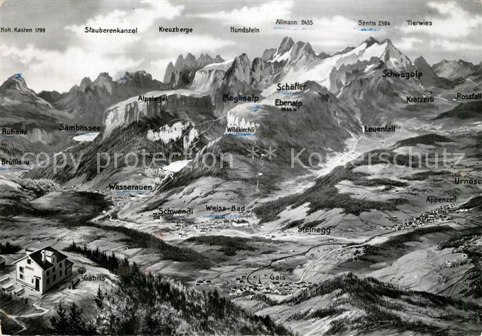 AK / Ansichtskarte Appenzell_IR Panoramakarte mit Alpstein  Appenzell IR
