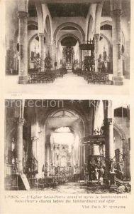 AK / Ansichtskarte Ypres_Ypern_West_Vlaanderen Eglise Saint Pierre avant et apres le bombardement Ypres_Ypern