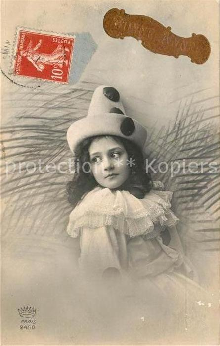 Ak Ansichtskarte Kinder Child Enfants Fasching Hut Foto Paris Nr