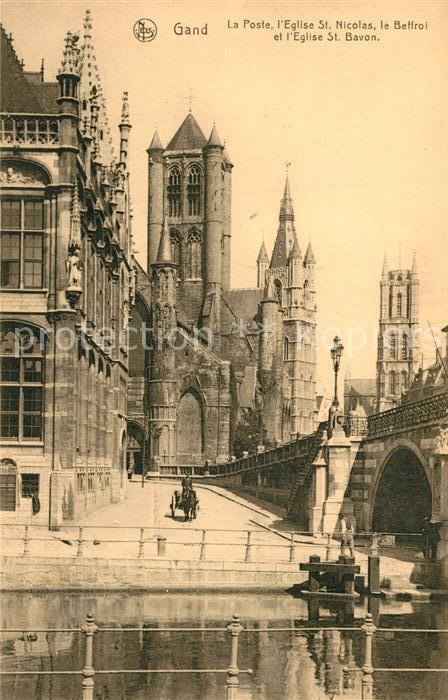 AK / Ansichtskarte Gand_Belgien La Post Eglise Saint Nicolas le Beffroi Cathedrale Saint Bavon Serie 3 No 52 Gand Belgien