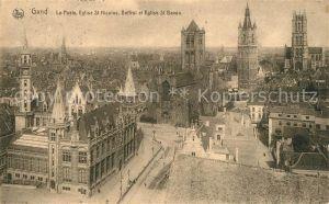AK / Ansichtskarte Gand_Belgien Panorama La Poste Eglise Saint Nicolas Beffroi Cathedrale Saint Bavon Gand Belgien