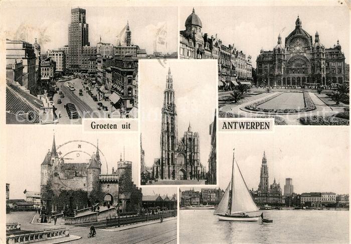 AK / Ansichtskarte Antverpeno Torengebouw Centra Stacidomo Steen Rodo Katedralo