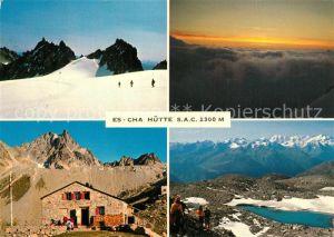 AK / Ansichtskarte Berguen_Bravuogn_GR Route Piz Kesch Es cha Huette Sonnenaufgang Porta d Es cha Berghuette Bergsee Alpenpanorama Berguen_Bravuogn_GR
