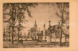 AK / Ansichtskarte Bruegge_West Vlaanderen Beguinenhof Radierung Bruegge_West Vlaanderen