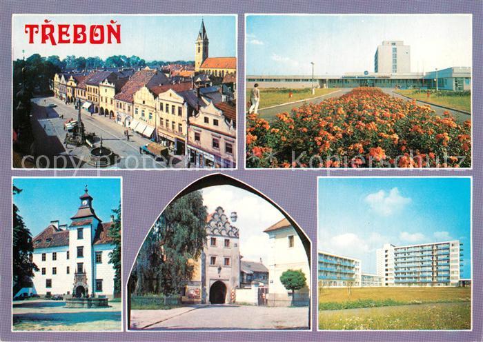 AK / Ansichtskarte Trebon Innenstadt Kirche Gebaeude Hochhaeuser Siedlung Trebon