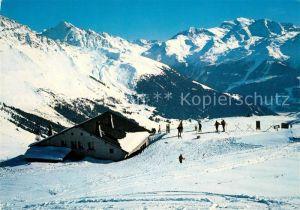 AK / Ansichtskarte Verbier Restaurant de Savolayres Pistes des Ruinettes et le Grand Combin Alpes Francaises en hiver Verbier