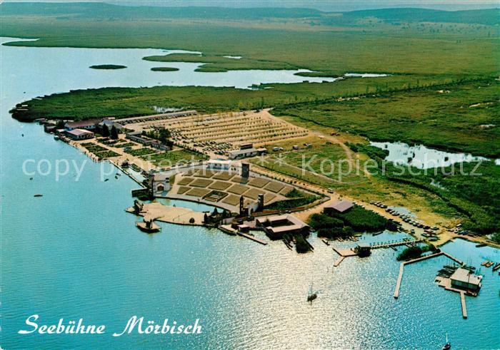 AK / Ansichtskarte Moerbisch_See Fliegeraufnahme mit Seehotel und Festspielbuehne Moerbisch See