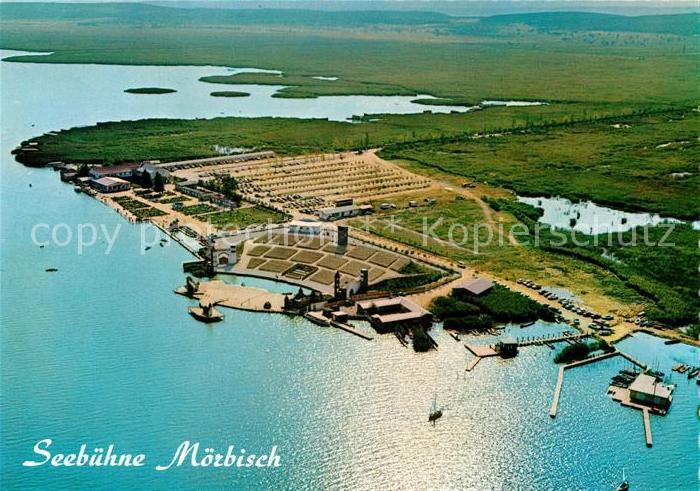AK / Ansichtskarte Moerbisch_See Badeanlage mit Seehotel und Festspielbuehne Fliegeraufnahme Moerbisch See