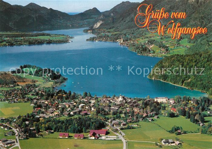 AK / Ansichtskarte Wolfgangsee Fliegeraufnahme mit Strobl St. Wolfgang St. Gilgen Wolfgangsee