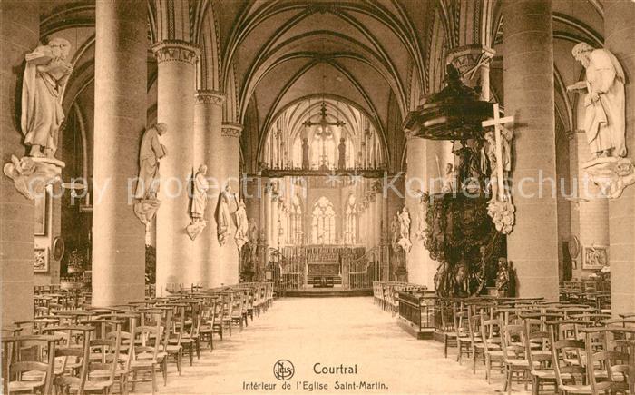 AK / Ansichtskarte Courtrai_Flandre Interieur de l Eglise Saint Martin Courtrai_Flandre