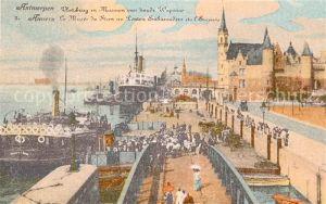 AK / Ansichtskarte Anvers_Antwerpen Musee du Steen au Ponton Embarcadere et l Escauts Anvers Antwerpen