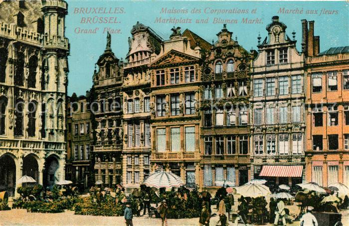 AK / Ansichtskarte Bruxelles_Bruessel Maisons des Corporations Marche aux fleurs Gildehaeuser Blumenmarkt Bruxelles_Bruessel