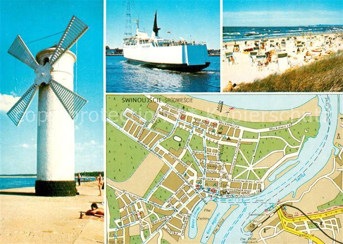 AK / Ansichtskarte Swinoujscie_Swinemuende Windmuehle Faehre Strand Stadtplan Swinoujscie Swinemuende