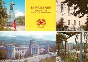AK / Ansichtskarte Duschanbe Rudaki Denkmal Firdoussi Bibliothek Aini Platz Park Hauptstadt Sowjettadshikistans Duschanbe