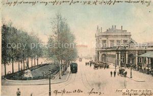 AK / Ansichtskarte Gand_Belgien La Place de la Gare Gand Belgien