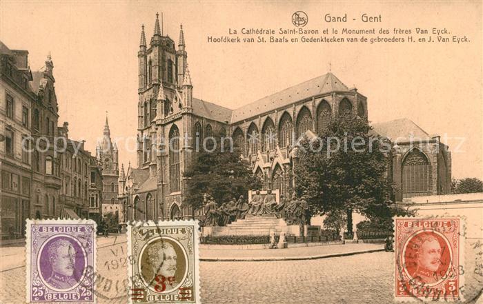 AK / Ansichtskarte Gand_Belgien Cathedrale Saint Bavon et Monument des freres Van Eyck Gand Belgien