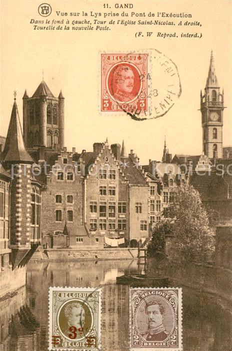 AK / Ansichtskarte Gand_Belgien Vue sur la Lys prise du Pont de l Execution Gand Belgien