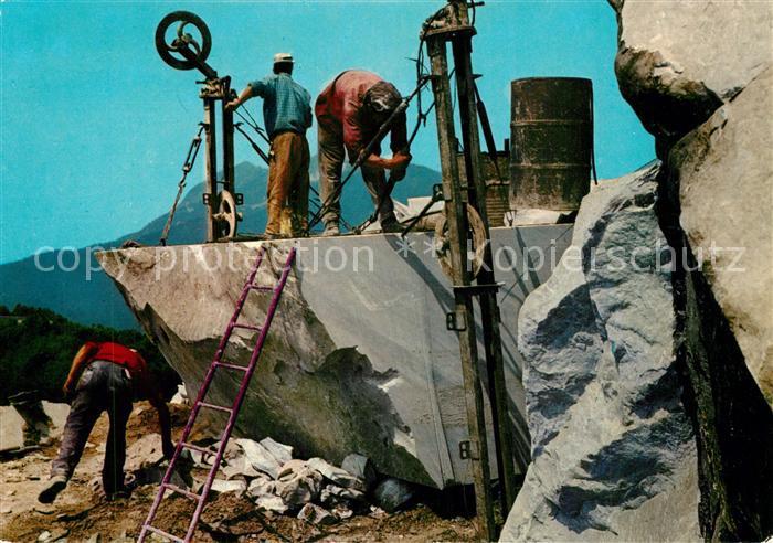 AK / Ansichtskarte Carrara Marmorsteinbruch Schnitt mit Helicoidaldraht Carrara