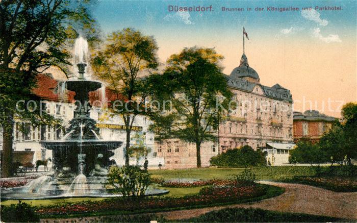 AK / Ansichtskarte Duesseldorf Brunnen in der Koenigsallee und Parkhotel Duesseldorf 0