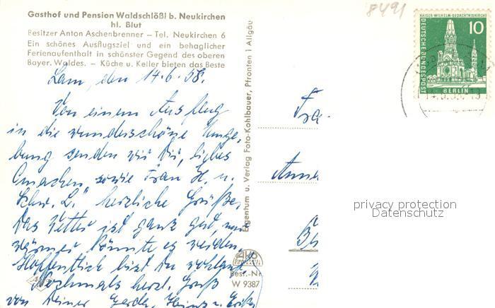 AK / Ansichtskarte Neukirchen_Heilig_Blut Blick vom Waldschloessl mit Hohenbogen Neukirchen_Heilig_Blut 1