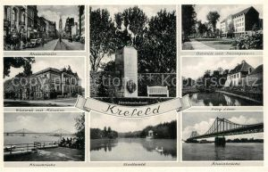 AK / Ansichtskarte Krefeld Rheinstr Westwall Museum Rheinbruecke Stadtwald Ostwall mit Passagehaus Burg Linn  Krefeld