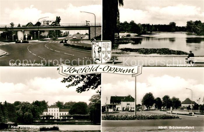 AK / Ansichtskarte Oppum_Krefeld Suedl Brueckenauffahrt Schoenwasserpark Haus Schoenwasser Noerdl Brueckenauffahrt Oppum Krefeld 0