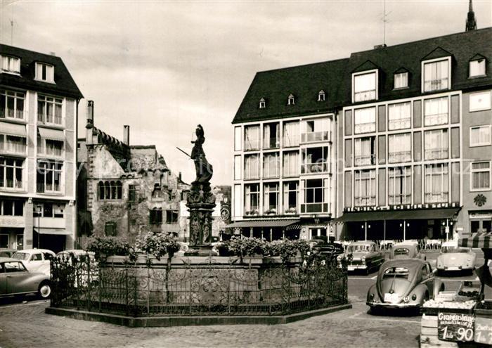 AK / Ansichtskarte Frankfurt_Main Gerechtigkeitsbrunnen Roemerberg Steinernes Haus Frankfurt Main 0