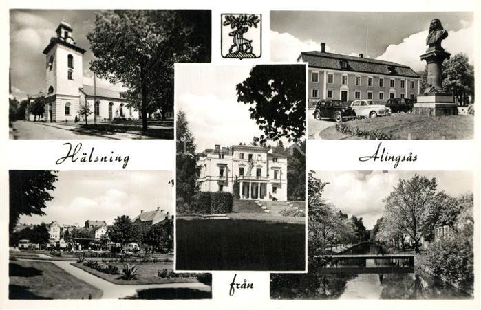 AK / Ansichtskarte Alingsas Kirche Statue Bruecke Park Alingsas 0