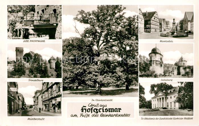 AK / Ansichtskarte Hofgeismar Alte Wassermuehle Trendelburg Muehlenstrasse Marktplatz Sababurg Ev Akademie Hofgeismar
