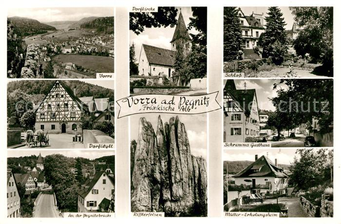 AK / Ansichtskarte Vorra_Pegnitz Kirche Schloss Dorfidyll Schramms Gasthaus Pegnitzbruecke Rifflerfelsen Muetter Erholungsheim Vorra Pegnitz