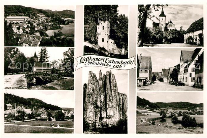AK / Ansichtskarte Eschenbach_Mittelfranken Panorama Heroldsturm Dorfstrasse Rifflerfelsen Eschenbach Mittelfranken