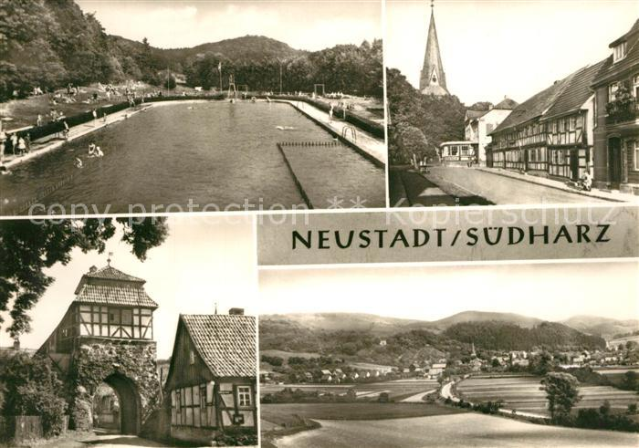 AK / Ansichtskarte Neustadt_Harz Schwimmbad Ratskeller Altes Tor Panorama Neustadt_Harz