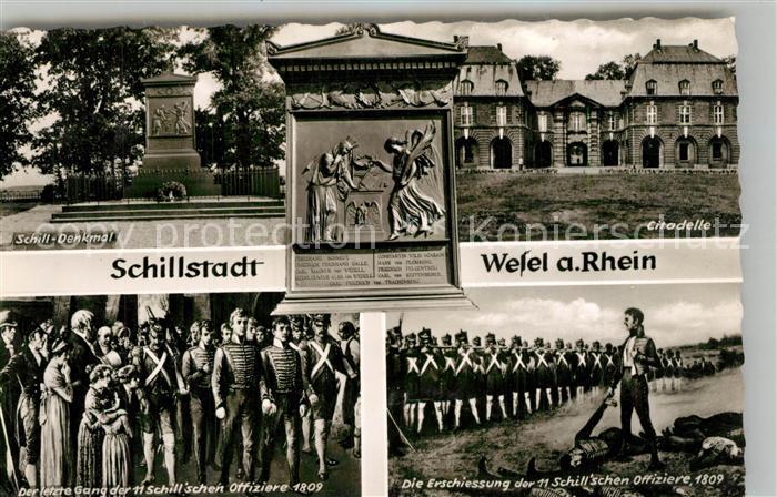 AK / Ansichtskarte Wesel_Rhein Schill Denkmal Citadelle Der letzte Gang der Schillschen Offiziere 1809 Erschiessung der Schillschen Offiziere Wesel Rhein
