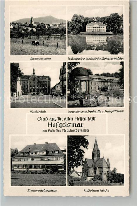 AK / Ansichtskarte Hofgeismar Gesamtansicht Ev Akademie der Landeskirche Marktplatz Gesundbrunnen Kindererholungsheim Kath Kirche Hofgeismar