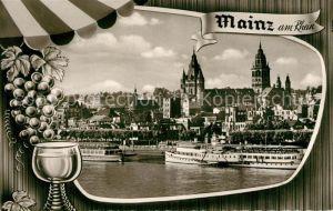 AK / Ansichtskarte Mainz_Rhein Stadtbild mit Rheinufer Dampfer Weinglas Weintrauben Mainz Rhein