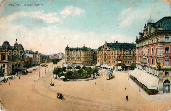 AK / Ansichtskarte Mainz_Rhein Bahnhofsplatz Mainz Rhein