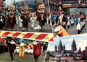 AK / Ansichtskarte Mainz_Rhein Mainzer Fastnacht Stadtbild mit Dom Mainz Rhein