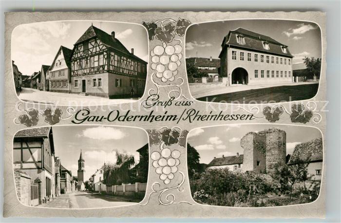 AK / Ansichtskarte Gau Odernheim Ortsmotive Fachwerkhaus Kirche Ruine Bromsilber Gau Odernheim