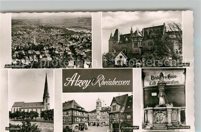 AK / Ansichtskarte Alzey Fliegeraufnahme Schloss Voelkerbrunnen Fischmarkt Deutsches Haus Fachwerkhaus Kirche Bromsilber Alzey