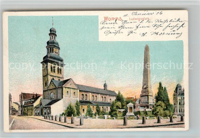 AK / Ansichtskarte Worms_Rhein Ludwigsplatz Denkmal Kirche Worms Rhein