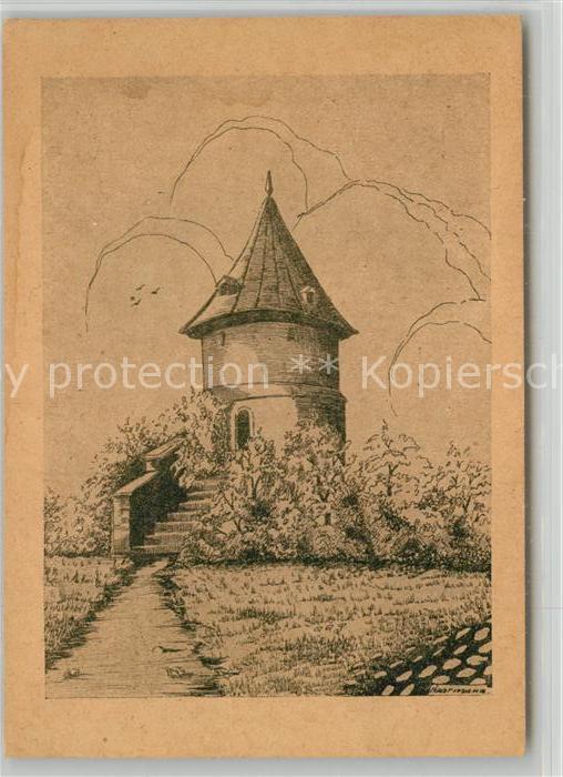 AK / Ansichtskarte Mayence Tour d Alexandre Alexanderturm Zeichnung Kuenstlerkarte Mayence
