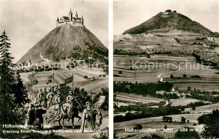 AK / Ansichtskarte Goeppingen Burg Hohenstaufen Einst und Jetzt Bromsilber Goeppingen